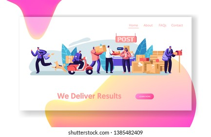 Post Office Service. People Send Letters and Parcels. Postmen Deliver Mail and Packages to Customers. Mail Delivery, Postage. Website Landing Page, Web Page. Cartoon Flat Vector Illustration, Banner