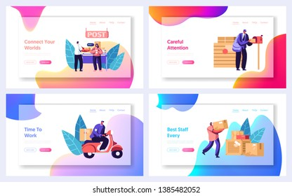 Post Office Service Website Landing Page Templates Set. People Send Letters and Parcels. Postmen Deliver Mail to Customers. Mail Delivery, Postage Web Page. Cartoon Flat Vector Illustration, Banner