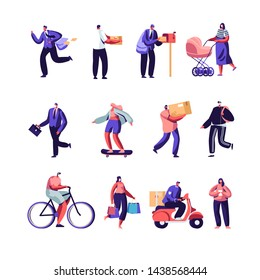 Post Office Workers Shipping Parcels and Mail, People in Polluted City Wearing Face Masks Set. Post Express Delivery Service, Air Pollution, Industrial Smog, Emission. Cartoon Flat Vector Illustration