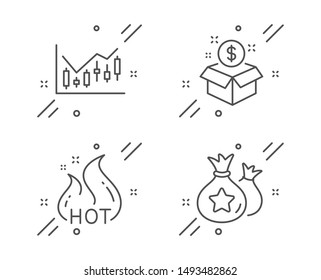 Post package, Financial diagram and Hot sale line icons set. Loyalty points sign. Postbox, Candlestick chart, Shopping flame. Money bags. Finance set. Line post package outline icon. Vector