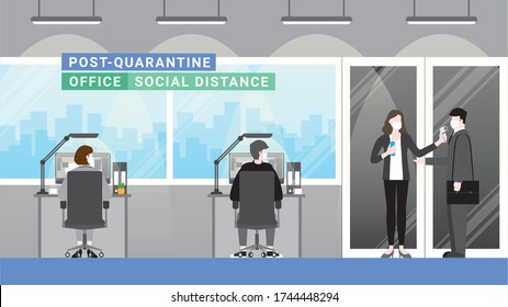 Post quarantine. Business people standing at checkpoint before enter office company new normal lifestyle. Social distancing limited seating physical capacity. After covid-19 corona virus pandemic .