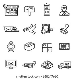 Post service icon set. Line style stock vector.