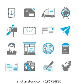 Post service icon set of shipping delivery packaging isolated vector illustration