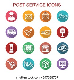 post service long shadow icons, flat vector symbols