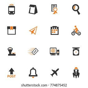 Post service orange icons set for web sites and user interface
