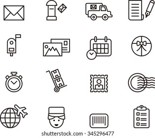 POST SERVICE set of outline icons