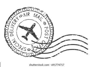 Post service, special delivery air mail black postmark with plane sign. Vector illustration isolated on white background