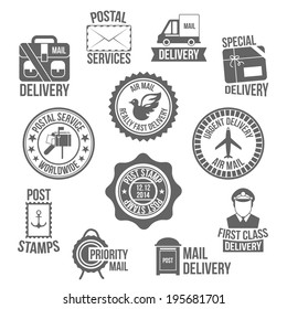 Post service special delivery worldwide mail label set isolated vector illustration
