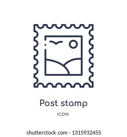 post stamp icon from social outline collection. Thin line post stamp icon isolated on white background.