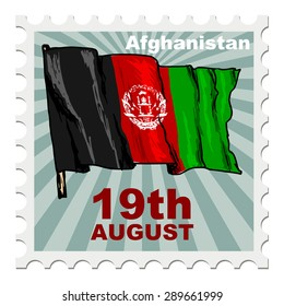 post stamp of national day of Afghanistan