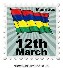 post stamp of national day of Mauritius