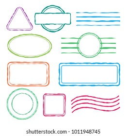 Post stamps with copy space. Isolated vector design elements