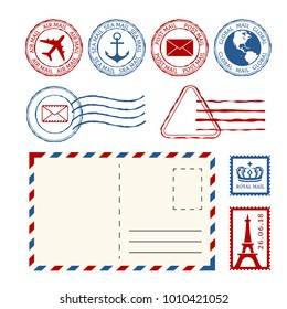 Post stamps, post marks and post mail collection. Vector design elements