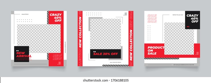 post template for digital marketing and sale promo. red and black fashion banner advertising. promotional mock up photo vector frame illustration