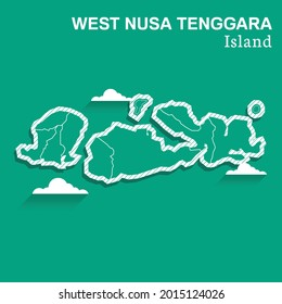 Post template for social media West Nusa Tenggara Island vector map, High detailed illustration. West Nusa Tenggara Island, part of Indonesia, country in Asia.