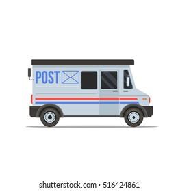 Post Truck Flat design vector illustration. Isolated on white background. Vector illustration