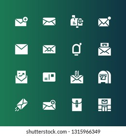 postage icon set. Collection of 16 filled postage icons included Post office, Mail, Email, Envelope, Mail box, Postcard, Mailbox