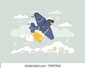 Postage pigeon character. Homer delivery of mail and letters. Vector illustration