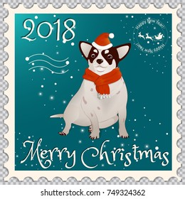 Postage stamp with a chihuahua dog dressed as Santa Claus. Symbol of the New Year 2018 and Christmas, according to the Eastern calendar. On a transparent background.Vector illustration
