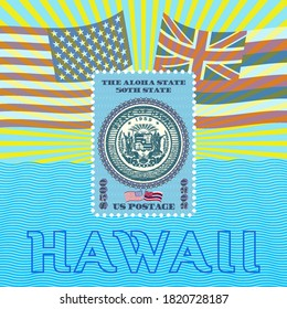 Postage stamp dedicated to the fiftieth state of America, Hawaii. Flags, rays, perforations and waves. EPS10