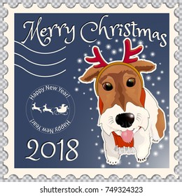 Postage stamp with a dog fox terrier, with comic horns of a deer. Symbol of the New Year 2018 and Christmas, according to the Eastern calendar. On a transparent background.  Vector illustration