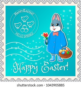 Postage stamp with the Easter bunny, keeps a basket with eggs and cake. He gives a bouquet of tulips. Print with chickens and congratulations on Easter. On a background of flowers. Vector.