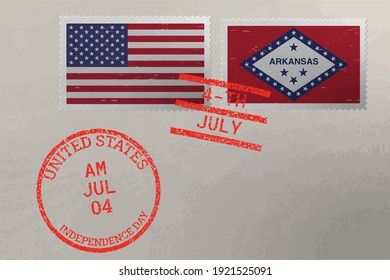 Postage stamp envelope with Arkansas and USA flag and 4-th July stamps, vector