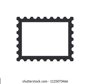 Postage stamp icon. Stamp icon. Blank postage stamp. Post ticket. Vector illustration. Color easy to edit. Transparent background.