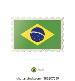 Postage stamp with the image of Brazil flag. Brazil Flag Postage on white background with shadow. Vector Illustration.