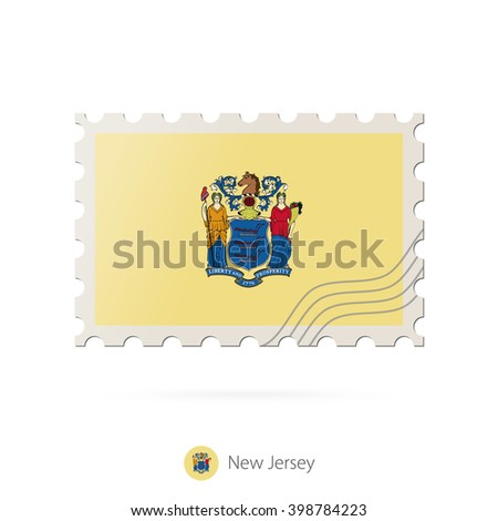 Postage Stamp With The Image Of New Jersey State Flag On