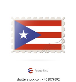 Postage stamp with the image of Puerto Rico flag. Puerto Rico Flag Postage on white background with shadow. Vector Illustration.