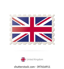 Postage stamp with the image of United Kingdom flag. United Kingdom Flag Postage on white background with shadow. Vector Illustration.