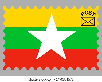 Postage stamp isolated on background with National flag of Republic of the Union of Myanmar. original colors and proportion. Simply vector illustration eps10, from countries flag set.