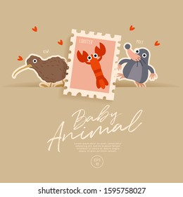Postage stamp isolated on brown paper background with cute baby animals : kiwi, lobster and mole : Vector Illustration