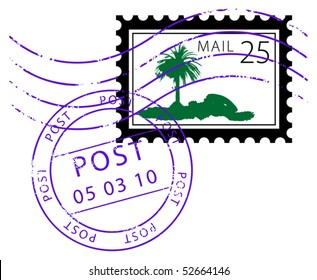 Postage stamp with palm, vector illustration