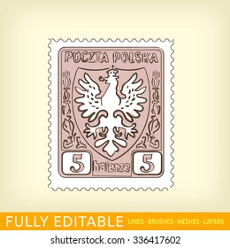 Postage stamp with the Polish eagle