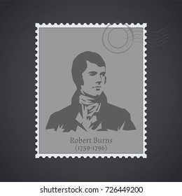 Postage stamp with a portrait of Robert Burns. Vector illustration.