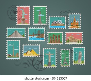Postage stamp and postmarks with famous landmark vector illustration. Worldwide architecture landmark set traditional and modern landmarks.