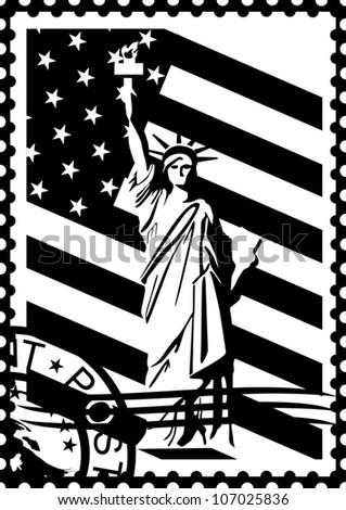 Postage Stamp Symbols America Black White Stock Vector Royalty Free
