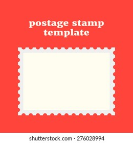 postage stamp template on red background. concept of message, indentation, cardboard, stationery, poststamp, backdrop, post-office. flat style trendy modern design vector illustration
