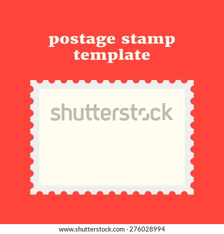 Postage Stamp Template On Red Background Stock Vector (Royalty Free ...