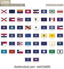 Postage stamp with USA State flags. Set of 50 US states flag. Vector Illustration.