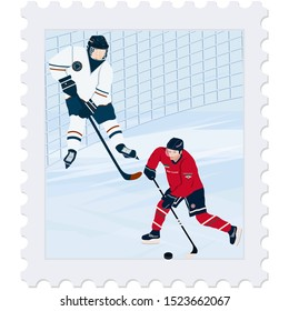Postage Stamp. Winter sport. Hockey. Players, goal, abstract ice - isolated on a white background - vector. Travel Banner