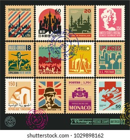postage stamps, cities of the world, vintage travel labels and badges set, seal and postmark design templates set 2. (French Republic, Tokyo Japan, Republic of Tunisia, Islamic Republic of Iran)
