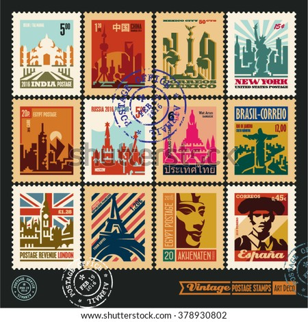 Postage Stamps Cities World Vintage Travel Stock Vector Royalty Free 378930802 Shutterstock