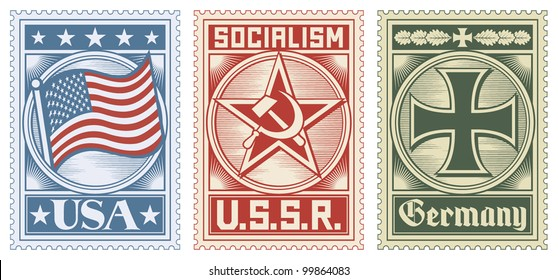 postage stamps collection (usa, ussr and germany design)