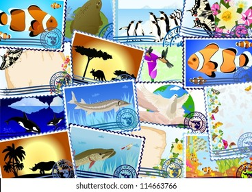 Postage stamps depicting the flora and fauna