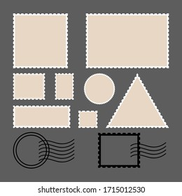 Postage stamps . Empty circles, rectangle and square postage stamps. Retro colors illustration. Flat style. For envelopes, leaflets or paper in retro style.