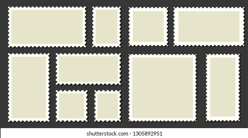 Postage stamps frames set on background. Vector illustration.