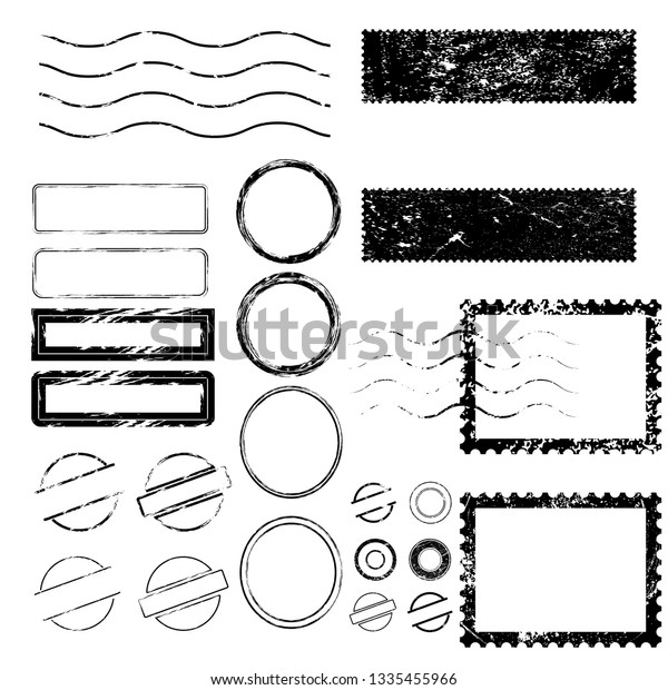 Postage stamps in grunge style. Set of textured postmarks . vector collection of vintage post marks.